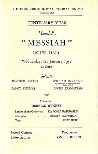 Messiah programme cover. 1958